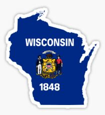 Wisconsin State Flag Map Sticker