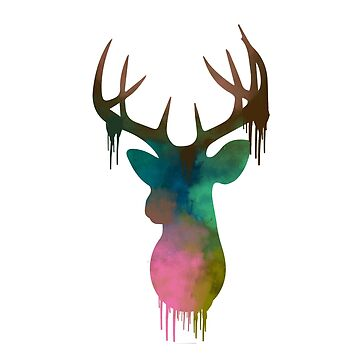 Deer Head Watercolor by RealistRaw