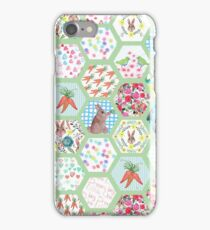 Spring Rabbit Floral Patchwork hexagons iPhone Case/Skin