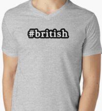 British - Hashtag - Black & White Mens V-Neck T-Shirt