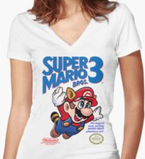 Mario 3 Women's Fitted V-Neck T-Shirt