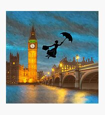 Magical Nanny Over London  Photographic Print