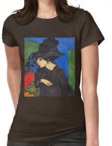 Ernst Ludwig Kirchner - Dodo With A Feather Hat (Dodo Mit Federhut) 1911 Womens Fitted T-Shirt