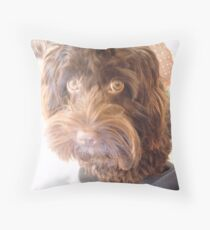 Chocolate Cockapoo Puppy Throw Pillow