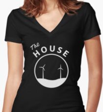 The HOUSE - White Logo Women's Fitted V-Neck T-Shirt