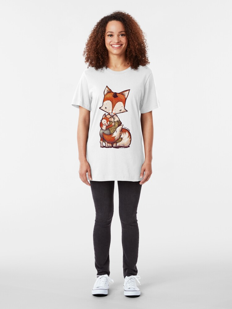 Alternate view of Fox Mother and Baby Slim Fit T-Shirt