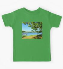 Painterly Landscape and Riverscape of a Mystic River Dock Kids Tee