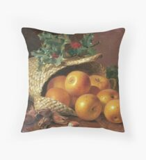 Eloise Harriet Stannard - Still Life With Apples, Hazelnuts And Holly Throw Pillow