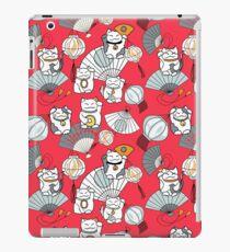 Maneki neko, Japanese fans and red paper lanterns on red background iPad Case/Skin