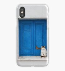Painted Blue Windows Old Cat Sat On Windowsill  iPhone Case/Skin