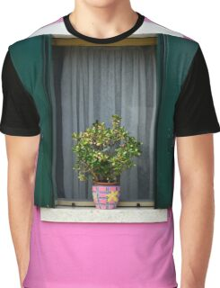 Painted Pink Wall Green Window Shutters Potted Plant Graphic T-Shirt