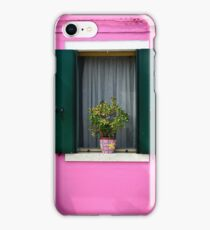 Painted Pink Wall Green Window Shutters Potted Plant iPhone Case/Skin