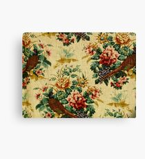Vintage Floral Fabric Pheasant Pattern Design Canvas Print