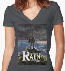 Zelda: Breath of the Wild - The Legend of Rain At Inconvenient Times Women's Fitted V-Neck T-Shirt