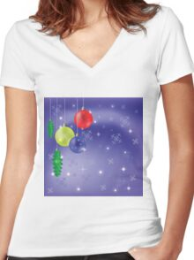 winter background Women's Fitted V-Neck T-Shirt