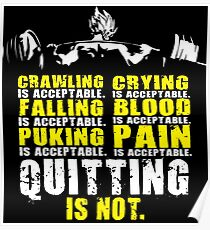 Quitting Is Not Acceptable - Saiyan Barbell Back Squat Poster