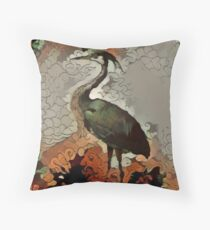 Blue Heron in green and brown Throw Pillow