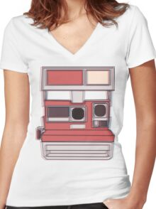 Retro Camera Women's Fitted V-Neck T-Shirt
