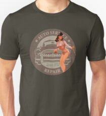 Vintage Auto Repair/Car Repair Pin Up Girl Unisex T-Shirt