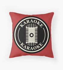 Karaoke B&W Throw Pillow