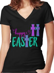Happy Easter- Neon Animal Print Women's Fitted V-Neck T-Shirt
