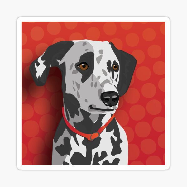 Dalmatian Dog Illustration on Spotted Red Background Sticker