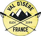 Val d'Isere France Skiing SAVOIE TARENTAISE VALLEY Ski Snowboard Mountain Silhouette Skis 3 by MyHandmadeSigns