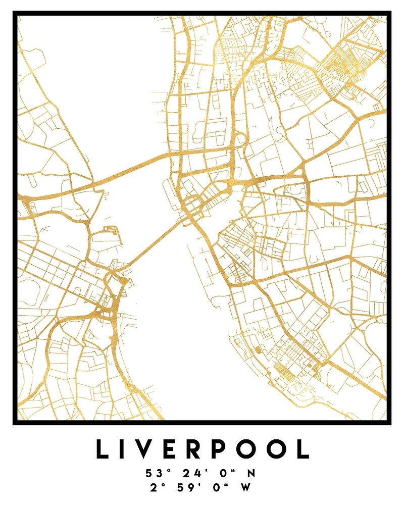 Map Of England Liverpool.Liverpool England City Street Map Art By Deificusart Redbubble
