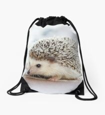 Cute Baby Hedgehog Photograph Drawstring Bag