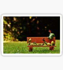 Funny Model Frogs Lounging On Bench Sticker