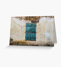 Grunge Old Wall Blue Painted Window Shutters Greeting Card