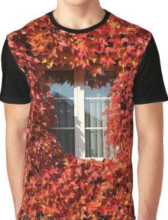 Bright Autumn Vines House Window Graphic T-Shirt