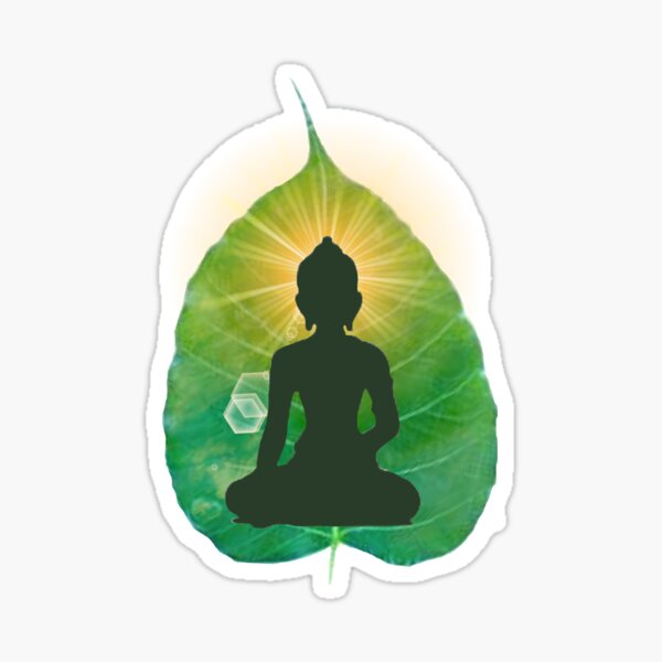 Buddha on a bodhi leaf Sticker