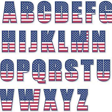 USA flag alphabet by leologie