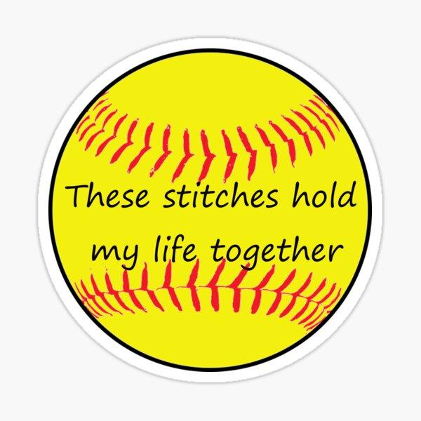 Yellow Softball Stitches Life Together Sticker