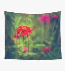 Fresh green autumn meadow with red blossom 2 Wall Tapestry