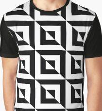 Black / Jet Black Geometric Square Pattern Graphic T-Shirt
