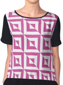 Bright Pink / Persian Rose Geometric Square Pattern Chiffon Top