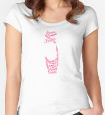 Pink Ballet Pointe Shoe Silhouette Filled Term Words Women's Fitted Scoop T-Shirt