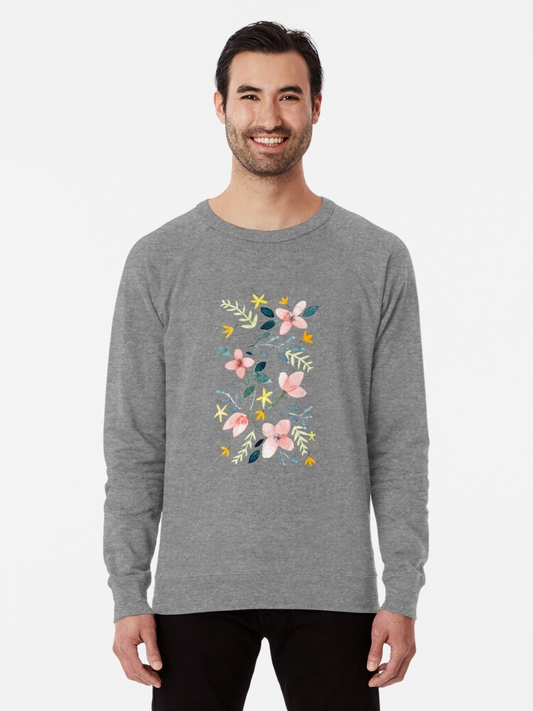 Alternate view of Watercolor Flowers Lightweight Sweatshirt