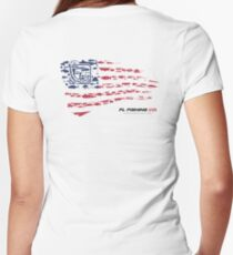American Flag RED  Women's Fitted V-Neck T-Shirt
