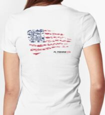 American Flag RED  Womens Fitted T-Shirt