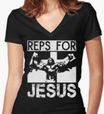Reps For Jesus Women's Fitted V-Neck T-Shirt