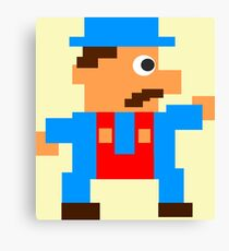 Retro Video Game Character in Pixels Canvas Print