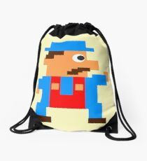 Retro Video Game Character in Pixels Drawstring Bag