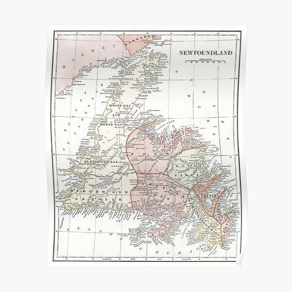 Vintage Map of Newfoundland Poster