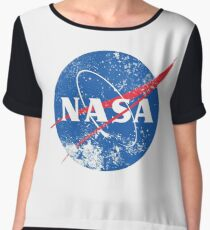 Distressed NASA Logo Chiffon Top