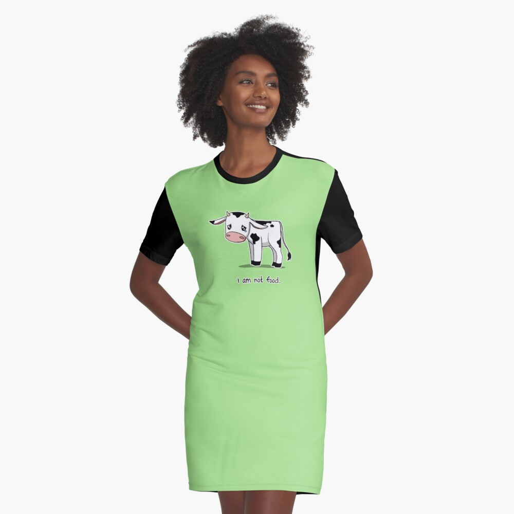 I Am Not Food Graphic T-Shirt Dress Front