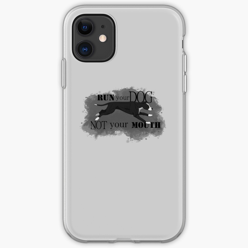 Run Your Dog, Not Your Mouth American Pit Bull Terrier Black and White iPhone Case & Cover