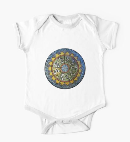Bicycle Mandala in Blue Green and Yellow Kids Clothes